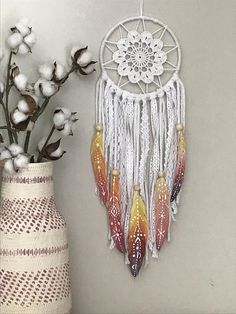 Colorful Boho Dream Catcher with Boho Style Hand Painted Feathers Hand Painted Feathers Sunset Color Inspiration Colorful Dream Catcher Shop Wild Cotton on Etsy Dream Catcher White, Dream Catcher Boho, Doily Dream Catchers, Rainbow Nursery Decor, Feather Painting, Colorful Wall Art, Wall Colors, Etsy, Diy And Crafts