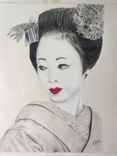 Geisha con labios rojos 💋 Técnica: grafito y  tiza pastel Sobre papel fabriano 33x40