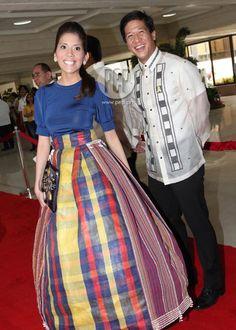 Batangas Vice Governor Mark Leviste kasama si China Jocson. (SONA 2012) Philippines Outfit, Philippines Fashion, Philippines Culture, Baro't Saya, Modern Filipiniana Gown, Filipino Fashion, Fashion Clothes, Fashion Outfits, Barong