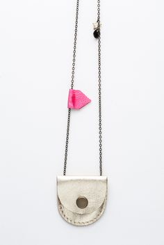 Tiny White Gold & Pink Leather Locket / Jen Booth
