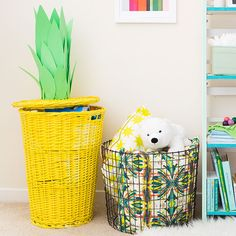 Give your child's nursery a pop of color with a DIY pineapple hamper.