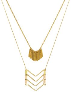 A double-stranded necklace features sleek fringe and a chevron silhouette for a minimal metallic accent. #baublebar #swatstyle #statement #necklace