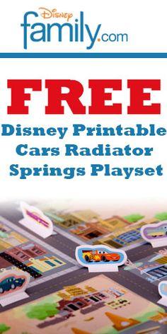 Free Disney Printable Cars Playset. Get your free printable set here! #free #Disney #Cars