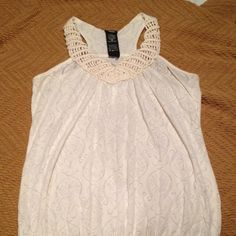 Dressy tank. Off white tank with decorative straps and elegant see thru pattern. Tops Tank Tops