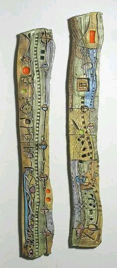 """Abstract Space Slender Columns"" Ceramic Wall Art Created by Janine Sopp"