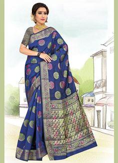 Weaving Art Silk Casual Saree in Blue Latest Indian Saree, Indian Sarees Online, Latest Sarees, Net Saree, Lehenga Choli, Silk Sarees, Buy Designer Sarees Online, Indian Designer Sarees, Celebrity Gowns