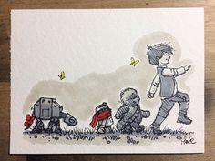 Les personnages de Star Wars dessinés dans l'esprit de Winnie l'Ourson