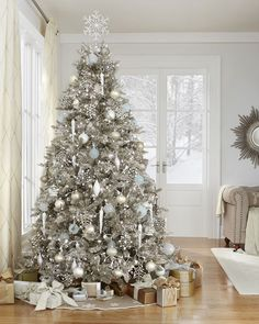 The delight of the season's first snow. Trim your tree with Enchanted Winter ornaments from #MarthaStewartLiving
