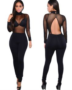 #Anself Women's Sexy Mesh Backless Long Sleeve #Bodysuit #Bodycon #Jumpsuit #clubwear