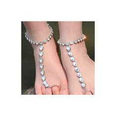 Rotita Rhinestone Embellished Silver Metal Water Drop Shape Anklets (£9.30) ❤ liked on Polyvore featuring jewelry, silver and anklet jewelry