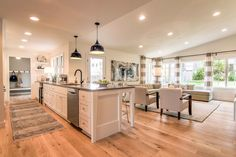 47 Using Split Level Kitchen Remodel Open Concept Living Rooms 68 Farmhouse Style Kitchen, Modern Farmhouse Kitchens, Cool Kitchens, Gray Kitchens, Small Kitchens, Kitchen Modern, Luxury Kitchens, Living Room Kitchen, Home Decor Kitchen