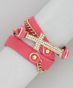 Take a look at this Pink Sparkle Cross Wrap Bracelet by R U S H By DENIS & CHARLES on #zulily today!