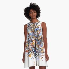 'Landscape 470 multicolor tree' A-Line Dress by artbylucie Eye Logo, I Dress, Chiffon Tops, My Arts, Cover Up, Summer Dresses, Printed, Landscape, Awesome