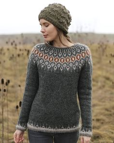 Telja knit in Lett Lopi in Rough Sea by Jenn Steingass