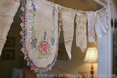bunting from vintage linens (Pink Roses) Doily Bunting, Vintage Bunting, Bunting Garland, Fabric Bunting, Buntings, Fabric Banners, Rag Garland, Fabric Garland, Bunting Flags