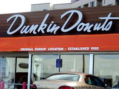 Original Dunkin Donuts location from 1950 on Southern Artery in Quincy, MA. Check out the cool retro yet modern sign!