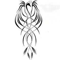 Line Phoenix Tattoo Design