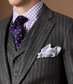 The grey flannel pinstripe suit Sharp Dressed Man, Well Dressed Men, Mens Attire, Mens Suits, Grey Suits, Mens Fashion Blog, Fashion Tips, Men's Fashion, Timeless Fashion