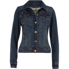 Blue dark wash denim jacket ($35) ❤ liked on Polyvore featuring outerwear, jackets, tops, coats, blue, blue jackets, dorothy perkins, long sleeve jacket, denim jacket and blue denim jacket