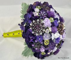 Couture Flower Bouquet in Purple and Lime! by Blue Petyl Bouquets #bridal #bouquet #jeweled #flower