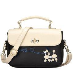 New Contrast Color  Puppy Cartoon Girl PU Shoulder Bag