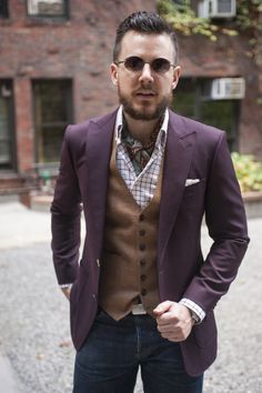 An all time favorite outfit. I love the colors, specifically the blazer. The paisley silk ascot is great and the tweed waistcoat is phenomenal.