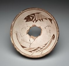 Bowl with interior fish and parrot, c. A.D. 1000-1150 - American Indian - Ceramic