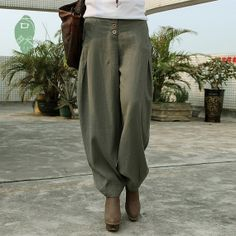 Linen Bloomers pants  / Baggy Aladdin Genie/ Fisherman man Pants /Trouser jumpsuit/ Yoga Boho Gypsy Indian women Loose Pants