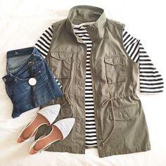 cargo vest / jeans / striped top