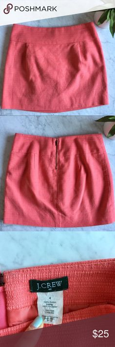 """J. Crew Coral Skirt In excellent preloved condition. Material: 100% cotton and polyester lining. Length 18"""" J. Crew Skirts Pencil"""