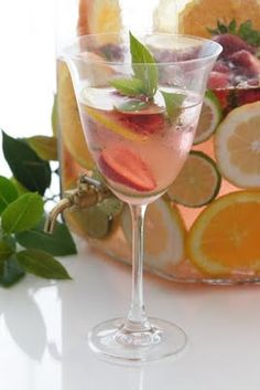 Spa Water - we keep a pitcher in the fridge all the time. We've tried mint, strawberry, and lemon. Wonderful ways to enhance plain water and make getting enough more enjoyable. I'll be experimenting with other flavors, too!