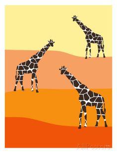 Orange Giraffe Family Taidevedos