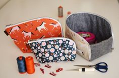 PDF pattern for a new style of pouch with a fun twist. Opens out into a useful box shapeto keep contents close at hand and easy to reach. Zips up securely for travel or storage. Great to use for sewing, knitting, kids toys, travel and more. Modern, angula...