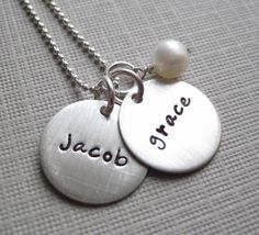 Hand stamped Mommy Necklace TWO NAME Charm  by jcjewelrydesign, $45.00