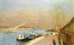 Quay on the Seine, Spring Morning - (Albert Charles Lebourg)