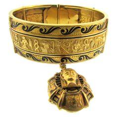 1stdibs.com | Egyptian Revival Gold and Enamel Bracelet