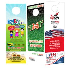 Door Hangers Perforated for Business Card - Printed on thick 100 lbs glossy cover card stock, cut, and shipped to your door, ready to hang. Custom Door Hangers, Doorknob Hangers, Door Knobs, Business Card Size, Business Cards, Door Hanger Printing, Color Black, Black White, White Prints