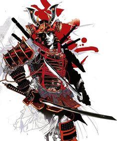 Samurai - Japanese Warrior Illustration by Kent Floris Samurai Warrior Tattoo, Ronin Samurai, Geisha Tattoos, Character Art, Character Design, Arte Ninja, Samurai Artwork, Culture Art, Illustrator
