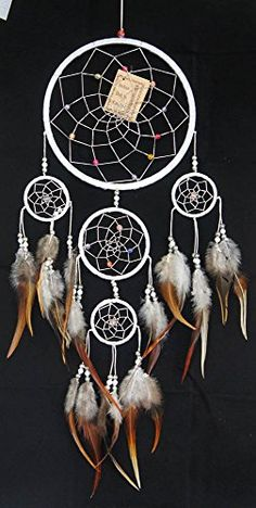 Items similar to LARGE white dream catcher 5 circles handmade bead feather decoration hanging wall on Etsy Long Walls, Colorful Feathers, Handmade Beads, Large White, Ornaments, Dream Catchers, Crafts, Etsy, Dreams