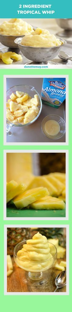 This yummy tropical whip recipe is healthy and easy! Only 2 ingredients and you'll have a healthy treat that tastes so indulgent! (clean eating recipe)