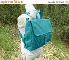 Fathers Day Sale 20% off Turquoise canvas backpack canvas
