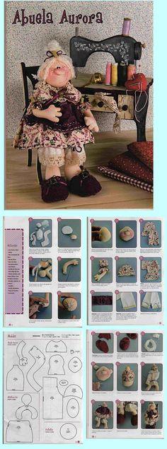 abuelita Doll Sewing Patterns, Sewing Dolls, Doll Clothes Patterns, Doll Crafts, Diy Doll, Doll Tutorial, Soft Dolls, Soft Sculpture, Waldorf Dolls