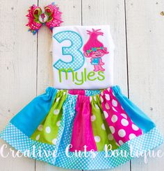 Trolls birthday shirt ,Birthday Outfit,Personalized by CreativeCutsBoutique on Etsy https://www.etsy.com/listing/488622666/trolls-birthday-shirt-birthday