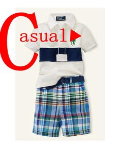 Retail free shipping, fashion polo short-sleeved T-shirt + plaid shorts suit baby boy sports brands $18.60