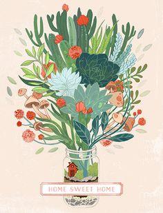 Terrarium Illustration Succulent Cactus Drawing Digital Art Mason Jar Home Sweet Home Wall Art, $15
