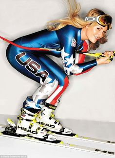 In another picture, she wears a blue USA ski outfit as she mimics skiing down a slope. Description from dailymail.co.uk. I searched for this on bing.com/images