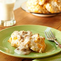 Cheddar Drop Biscuits with Sausage Gravy | This classic southern breakfast favorite provides all the goodness of dairy without the lactose.