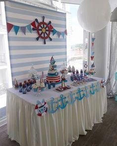 … First Birthday Party Themes, Boy Birthday Parties, Baby Birthday, Birthday Party Decorations, Sailor Birthday, Nautical Mickey, Nautical Party, Sailor Baby Showers, Baby Boy Shower