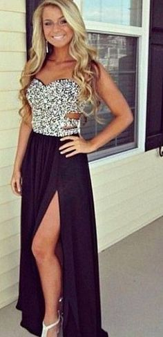 2015 Prom Dresses Sweetheart Sleeveless Sequins Side Slit Floor Length Chiffon Sexy Cheap Evening Gowns. black chiffon prom gowns, crystal prom dresses, long evening dresses.