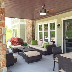 Create a watertight ceiling finish under your deck. This patio looks great and the furniture stays dry all year long! Deck Furniture, Patio Under Decks, Diy Deck, Under Deck Ceiling, Walkout Basement Patio, Patio Design, Building A Deck, Patio Furnishings, Outdoor Furniture Sets